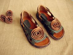 Handmade Women's soft Leather Hollow Sandals with Flower, Summer Sandals for Women,Flat Shoes
