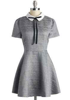 Dazzling at Dinner Dress - Short, Woven, Grey, Solid, Casual, Vintage Inspired, A-line, Short Sleeves, Better, Collared, Silver, Party, 60s