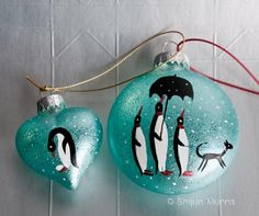 A Penguin Family small handpainted Christmas Ornament by shijunart