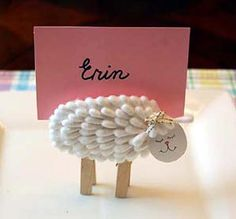 Here's a cute Easter lamb craft using Q-tips and clothespins. It's great for a card holder at your next Easter or sprng party. Kids Crafts, Sheep Crafts, Cute Crafts, Easter Crafts, Crafts To Make, Craft Projects, Craft Ideas, Easter Ideas, Spring Crafts