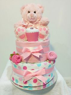 Baby Girl Two Tier Nappy Cake Polk a dots