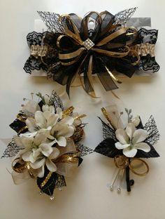 Black, white & gold boutonniere, corsage & garter
