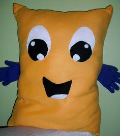 Large Fleece Hug ME decorative child/teen pillow  Blue and Yellow. $39.99, via Etsy.