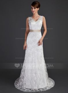 [NZ$ 287.96] A-Line/Princess V-neck Court Train Lace Wedding Dress With Sash Beading Bow(s)