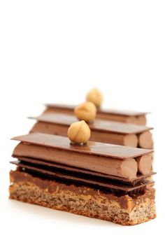 Plaisir Sucre a masterpiece in French pastrues. Looks so yummy Classic French Desserts, Elegant Desserts, Sweet Desserts, Sweet Recipes, Chocolate Art, Chocolate Hazelnut, French Patisserie, Caramel, Sweet Bakery