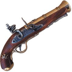 The blunderbuss is a muzzle-loading firearm with a short, large caliber barrel, which is flared at the muzzle and frequently throughout the entire bore, and used with shot and other projectiles of relevant quantity and/or caliber. The blunderbuss could be considered to be an early form of shotgun or muzzleloader, which was often adapted to military and defensive use. The term dragon was used to describe a blunderbuss in handgun form, and it is from this that the term dragoon evolved.