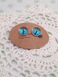 Stud Earrings - Sky Blue Tree Whimsical - Glass Cabochon by ChloeFaerieJewellery on Etsy