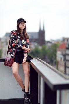 flower bomber jacket + biker boots + skirt