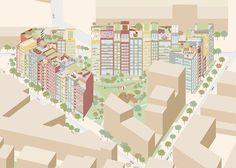 Axonométrie - ''pixel art'' ECDM - 04 urbanité paysagère