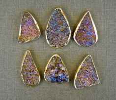 Purple/ Gold Titanium Druzy drussy drusy by jewelersparadise