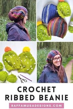 The Ribbed Cactus Beanie is a fun crochet hat with lots of texture and a cactus look! This beanie has a slouchy and comfy fit which is perfect for people with lots and lots of hair. The beanie is worked flat from side to side and seamed at the end. The free crochet pattern comes in 6 sizes from 12-24 months up to Adult L. So, it is a great pattern for making matching hats for the entire family! Tap on the pin to get to the free pattern! Slouchy Beanie, Beanie Hats, Work Flats, Crochet Cactus, Head Accessories, Hat Sizes, Free Crochet, Free Pattern, Crochet Patterns