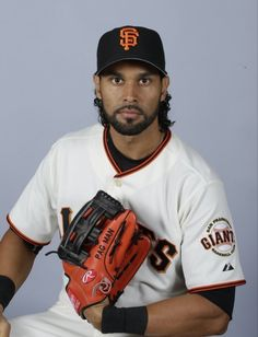 This is a 2015 photo of Angel Pagan of the San Francisco Giants baseball team.