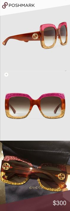 Authentic Gucci Sunglasses Square Frames Womens A Brand New Pair of Womens Square Frame Acetate Gucci Sunglasses .Comes With Paper Work ,Gucci Sunglasses Case, And A Gucci DustBag For The Sunglasses Gucci Accessories Glasses