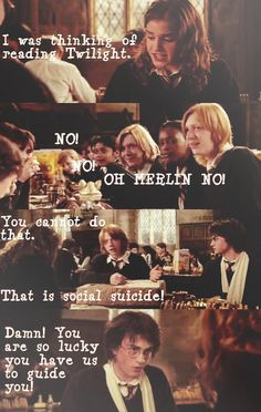 Hermione would NEVER even THINK of reading Twilight but I still find this funny.