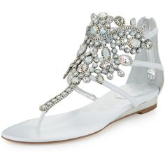Rene Caovilla Crystal-Chandelier Thong Sandal ($1,260) ❤ liked on Polyvore featuring shoes, sandals, shoes sandals thongs, white, toe post sandals, white sandals, swarovski crystal sandals, embellished sandals and swarovski crystal shoes