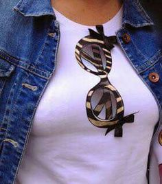 Love the glasses! Applique Patterns, Applique Designs, T Shirt Diy, Tee Shirts, T Shirt Painting, Painted Clothes, Clothing Hacks, Fashion Outfits, Womens Fashion