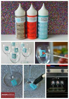 DIY Monogrammed Wine Glasses - The Motherload Monogram Wine Glasses, Monogrammed Glasses, Diy Wine Glasses, Painted Wine Glasses, Glitter Glasses, Glitter Wine, Champagne Glasses, Wine Glass Crafts, Wine Bottle Crafts
