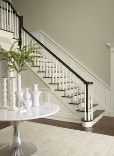 Entryway in a neutral paint colors palette. Benjamin Moore Stonington Gray stair risers, trim and wainscoting, walls Lacey Pearl, accent Almost Black Room Colors, Wall Colors, House Colors, Neutral Paint Colors, Interior Paint Colors, Foyer Paint Colors, Beige Paint, Green Paint Colors, White Colors