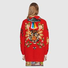 Gucci Oversize embroidered wool cardigan Detail 4