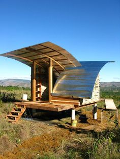 """""""Built in a poverty-ridden area of Venezuela, the butterfly-like design of the roofs on this eco cabin catches rainwater. Read more about it on Dwell."""""""