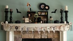 From SPARK sister. If only we could decorate the ADPi fireplace this cute for Halloween! Halloween Labels, Halloween Banner, Halloween Displays, Creepy Halloween, Vintage Halloween, Halloween Treats, Holidays Halloween, Happy Halloween, Halloween Party