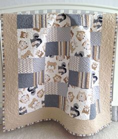 Patchwork Baby Quilt featuring Wee Woodland Critters by Timeless Treasures Owls Teddy Bears Squirrels Blue Grey Tan White Toddler Quilt Baby Quilts Easy, Baby Patchwork Quilt, Cot Quilt, Baby Boy Quilts, Girls Quilts, Kid Quilts, Patchwork Ideas, Amish Quilts, Patchwork Patterns
