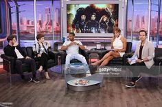 Jamie Bell, Kate Mara, Michael B Jordan, Lili Estefan and Carlos Calderon are seen on the set of 'El Gordo y La Flaca' to promote the movie 'Fantastic Four' at Univision Studios on July 31, 2015 in Miami, Florida.