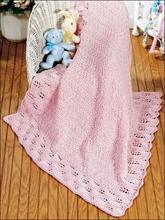Precious in Pink Baby Blanket Knitting Pattern Download from e-PatternsCentral.com -- Welcome a new baby girl with this delicate pink blanket; or welcome a new baby boy by using light blue yarn instead!