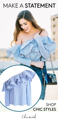 Swanky One-shoulder Ruffle Striped Top featured by byhilaryrose blog