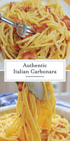 Authentic Carbonara is an easy Italian pasta recip. Authentic Carbonara is an easy Italian pasta recipe using eggs, cheese and bacon. This is an easy carbonara recipe that any home cook can feel confident in making! Carbonara Recipe Authentic, Easy Carbonara Recipe, Italian Carbonara Recipe, Spaghetti Carbonara Recipe, Pasta Alla Carbonara, Spaghetti And Bacon Recipe, Classic Carbonara Recipe, Italian Spaghetti Recipe, Gourmet