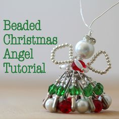 A BEADED CHRISTMAS ANGEL . After many requests, I have created a step-by-step tutorial for this Beaded Christmas Angel with plenty of time for this year's Christmas crafting! Beaded Christmas Ornaments, Christmas Jewelry, Christmas Angels, Handmade Christmas, Christmas Crafts, Christmas Stars, Crochet Ornaments, Crochet Snowflakes, Crochet Christmas