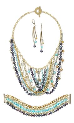 Bib-Style Necklace, Bracelet and Earring Set with Cultured Freshwater Pearls and 14Kt Gold-Filled Chain by Jude at Fire Mountain Gems.