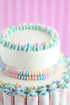 Sprinkle Bakes: Marshmallow-Candy Swirl Cake. So pretty!!! #cakes #pastels #birthday