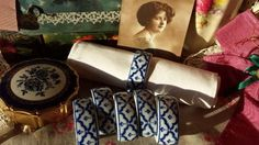 6 Vintage Blue and White Pottery Napkin Rings Holders SOLD by Nostalgique Boutique