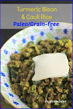 This post includes a printable recipe and a visual guide for how to make cauliflower rice, and how to mix it with bison for a one-pot meal. Paleo Cauliflower Rice, Cauli Rice, One Pot Meals, Easy Meals, Veggie Bowl Recipe, Grain Free, Dairy Free, Bison Recipes, Protein Rich Diet