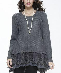 Look at this #zulilyfind! Gray Mesh Embroidered Layer Sweater #zulilyfinds
