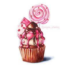 Cupcake Kunst, Cupcake Art, Realistic Drawings, Art Drawings Sketches, Cute Drawings, Marker Kunst, Marker Art, Food Art Painting, Chibi Kawaii