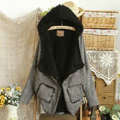 Plain Hooded Bat-wing Sleeve Coat