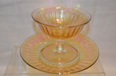 """Imperial Glass Carnival Marigold Iridescent Sherbet and Under Plate """"Smooth Rays"""" Pattern Vintage by BigBlossomAntiques on Etsy"""