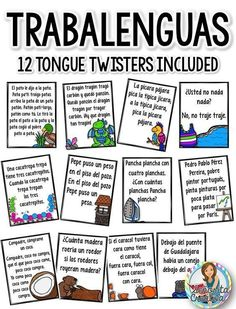 12 fun trabalenguas (tongue twister) posters for Spanish students! $ #spanishlessons #learnspanish #learnspanishforkidsteaching #spanishlessonsforadults