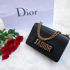 J'adior black handbag flatlay #christaindior #jadior