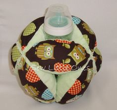 Baby Bottle Holder BallOwl With Green Background By Sewlittleones 2500 Holders