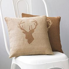 Stag's Head Hessian Cushion - autumn edit