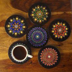 Items similar to RGB Dot Mandala coaster set of 6 on Etsy Mandala Art Lesson, Mandala Artwork, Mandala Drawing, Mandala Painting, Bottle Painting, Bottle Art, Diy Gifts To Sell, Coaster Art, Mandala Rocks