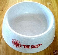 """""""THE CHIEF""""  DOG DISH for your pup - Fire Department Maltese Cross design"""