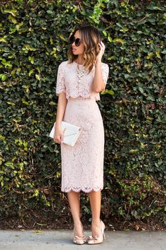 petite fashion blog, lace and locks, los angeles fashion blogger, high waist skirt with scallop hem pink lace midi pencil skirt and crop top, feminine fashion, romantic fashion, bow heels, ysl white clutch, style, pretty. Please choose cruelty free, go vegan!