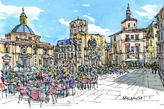 Valencia Spain art print from an original watercolor painting