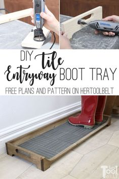 DIY Tile Boot Tray - Her Tool Belt diy beginner diy pallet diy projects diy rustic diy woodworking Woodworking Ideas To Sell, Popular Woodworking, Woodworking Furniture, Woodworking Shop, Woodworking Crafts, Diy Furniture, Woodworking Plans, Woodworking Chisels, Woodworking Equipment