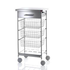 Picture showing Vegetable Cart With Three Baskets, Drawer & Wine Rack, Stainless Steel