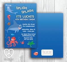 Under The Sea 5x7 Printable Birthday Invitation by PeaceLovePrint on Etsy